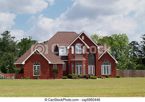 hjem, beboelses, historie, mursten, to - csp5993446