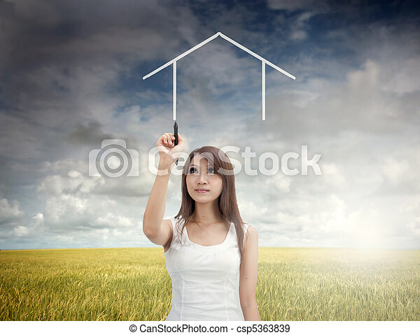 hjem, pige, begreb, asiat - csp5363839