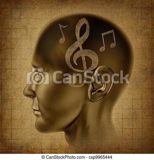 hjerne, musik - csp9965444