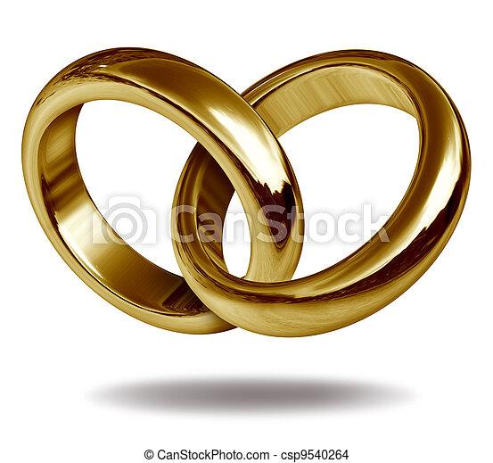 hjerte form, ringer, constitutions, guld - csp9540264