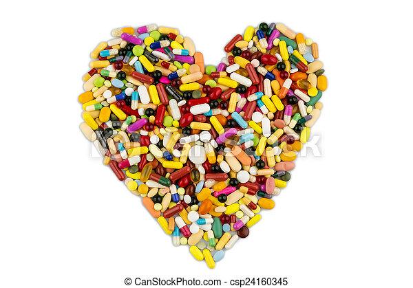hjerte form, tabletter, farverig - csp24160345