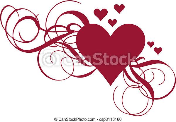 hjerte, vektor, swirls - csp3118160
