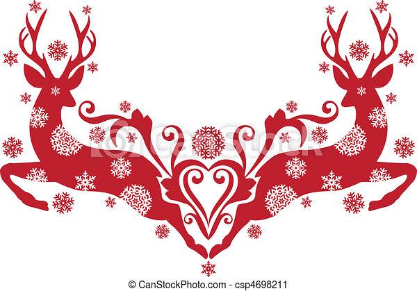 hjort, vektor, jul - csp4698211