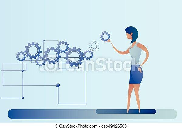 hjul, branche kvinde, proces, businesswoman, summemøde, cog - csp49426508