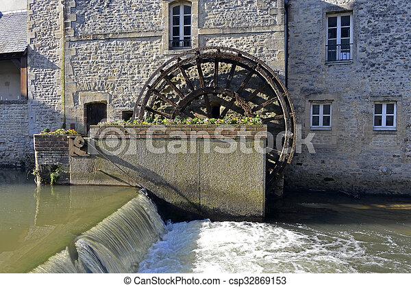 Hjul Vatten Bayeux Frankrike Hjul Kommun Bayeux Nordvastlig Frankrike Vatten Aure Normandie Calvados Avdelning