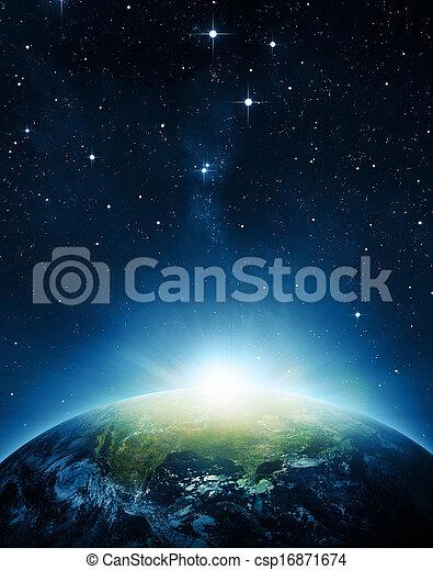 hlína, východ slunce - csp16871674