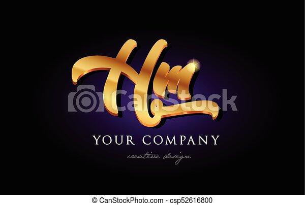 Hm H M 3d Gold Golden Alphabet Letter Metal Logo Icon Design