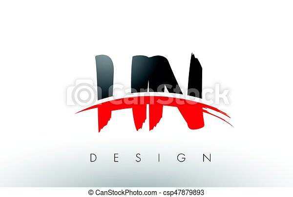 Hn h n brush logo letters with...