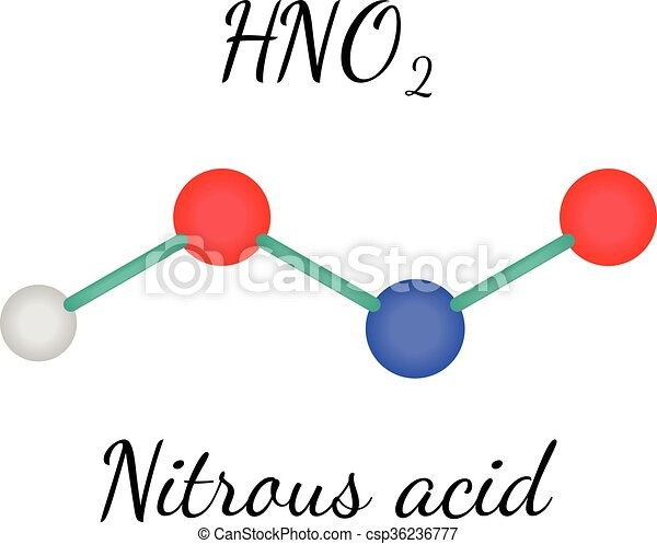 hno2 nitrous acid molecule hno2 nitrous acid 3d molecule isolated