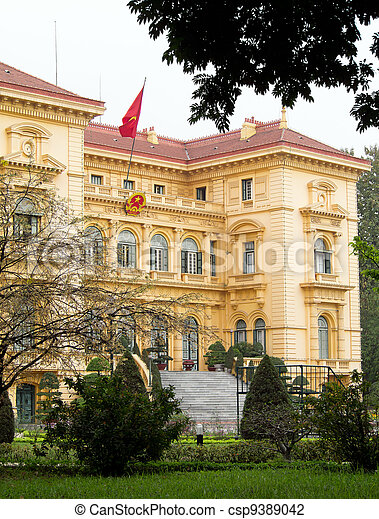 Ho Chi Minh, the Presidential Palace in Hanoi, Vietnam - csp9389042