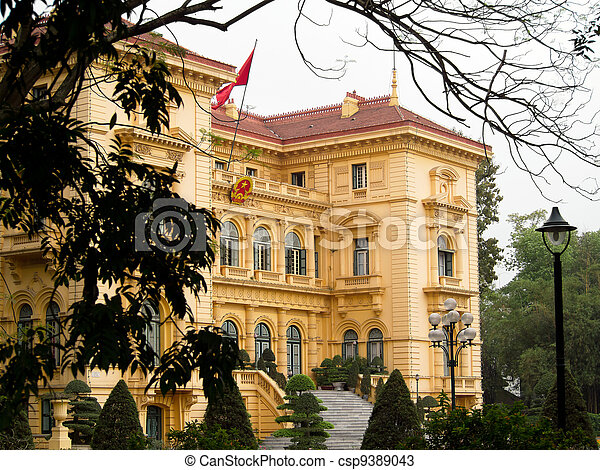 Ho Chi Minh, the Presidential Palace in Hanoi, Vietnam - csp9389043
