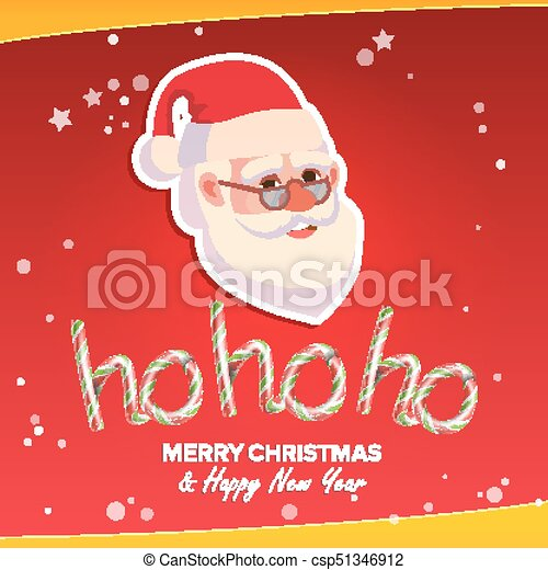 ho ho ho phrase sign vector merry christmas greeting red background card santa claus place for - Hohoho Merry Christmas