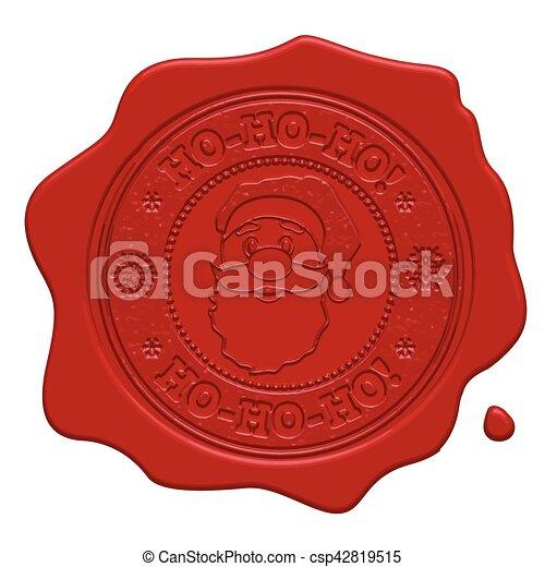 Ho-Ho-Ho! red wax seal - csp42819515