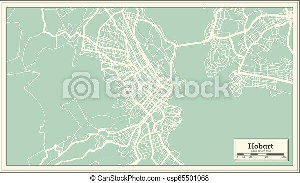 Australia Map Hobart.Hobart Australia City Map In Retro Style Outline Map