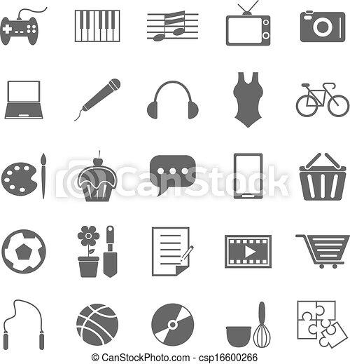 hobby, białe tło, ikony - csp16600266