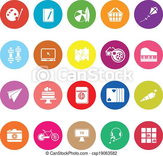 Hobby flat icons on white background - csp19063582