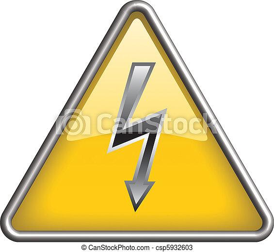 Hoch, ikone, symbol, spannung. Dreieck, ikone, symbol, gelber , hoch ...