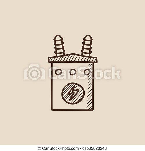 Hoch, transformator, icon., skizze, spannung. Transformator,... EPS ...