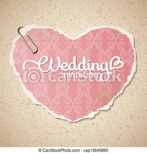 Hochzeitskarten Herz Weinlese Einladung Beschaffenheit Papier