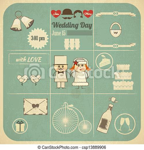 Hochzeitskarten Retro Karte Infographics Quadrat Illustration