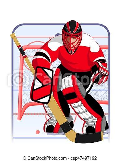 hockey goalie in red uniform - csp47497192