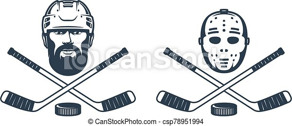 Hockey goalie mask logo with crossed sticks - csp78951994