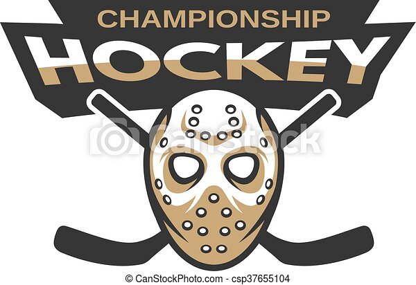 Hockey Goalie Mask With Two Sticks Ice Hockey Sports Mascot Logo