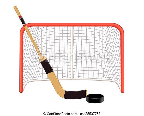 Hockey Goalie Stick Puck Net Hockey Goalie Stick And Puck In Front