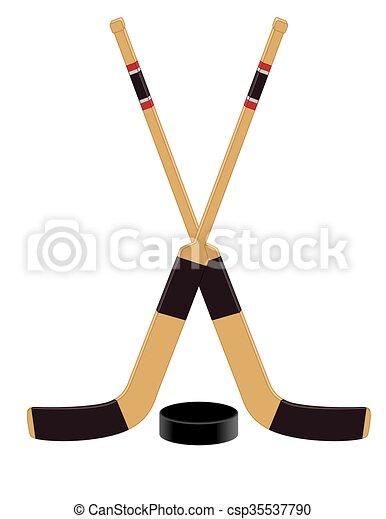 Hockey Goalie Sticks With Puck Two Hockey Goalie Sticks Crossed