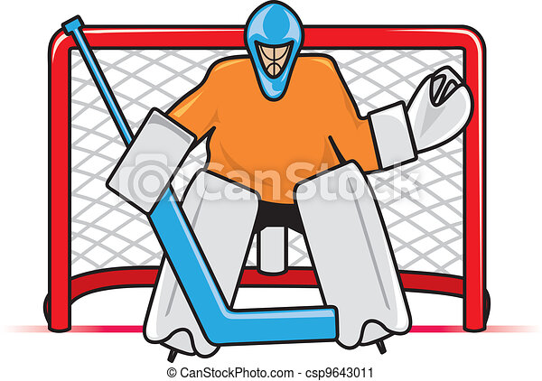 hockey goalie a stylized depiction of a hockey goaltender vector rh canstockphoto com hockey goalie mask clipart hockey goalie mask clipart