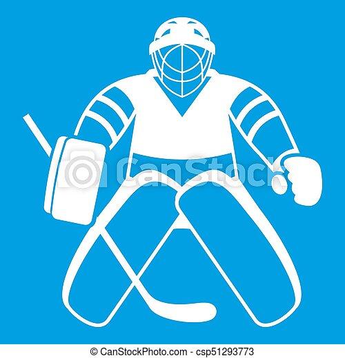 Hockey Goalkeeper Icon White Isolated On Blue Background Illustration