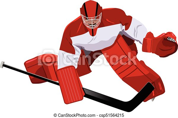 Hockey Goalkeeper In The Game Depiction Of A Hockey Goaltender