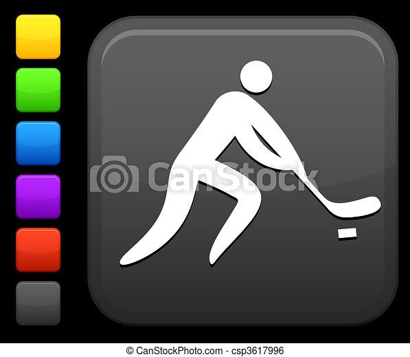 Hockey icon on square internet button - csp3617996