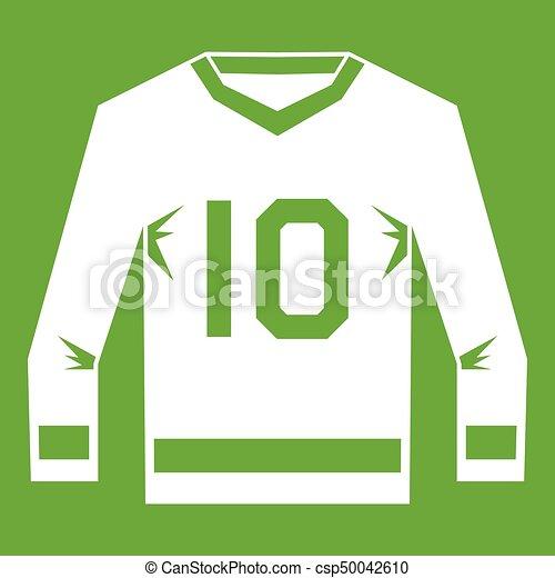Hockey Jersey Icon Green Hockey Jersey Icon White Isolated On Green