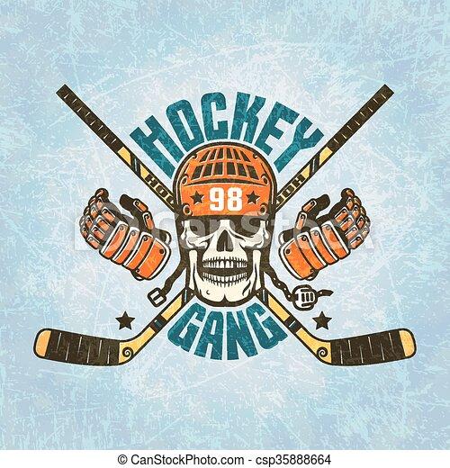 Hockey logo - a skull in a helmet - csp35888664