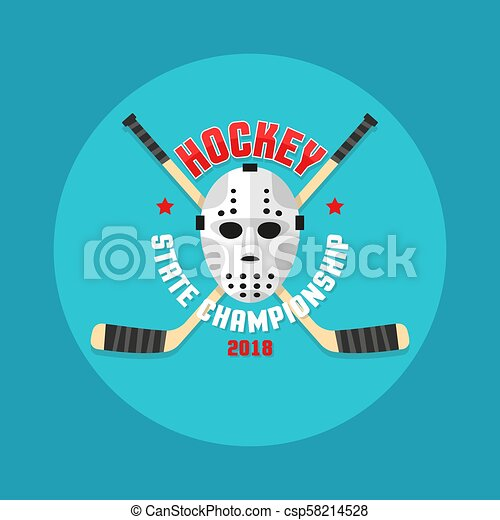 Hockey logo in a flat style with a goalkeeper's mask and crossed sticks. - csp58214528