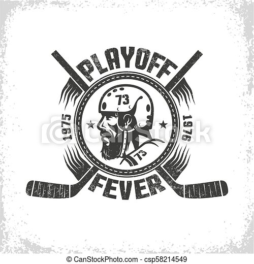 Hockey logo in vintage style with head of player - csp58214549