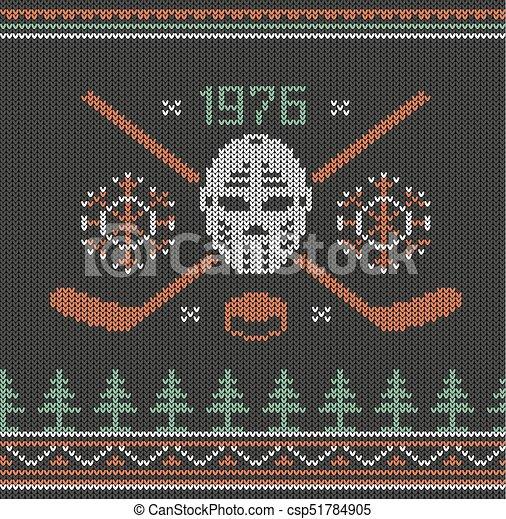 Hockey logo knitted - csp51784905