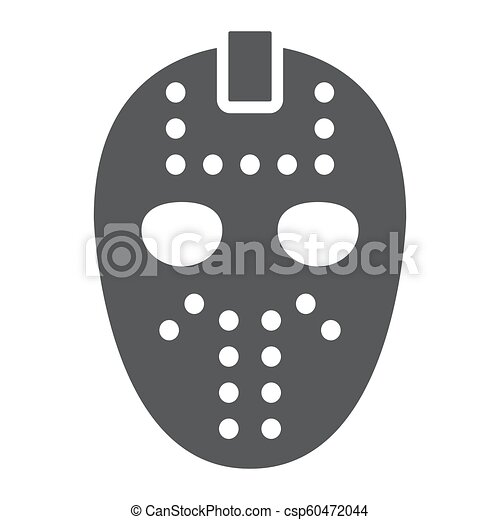 Hockey Mask Glyph Icon Helmet And Mask Goalie Sign Vector