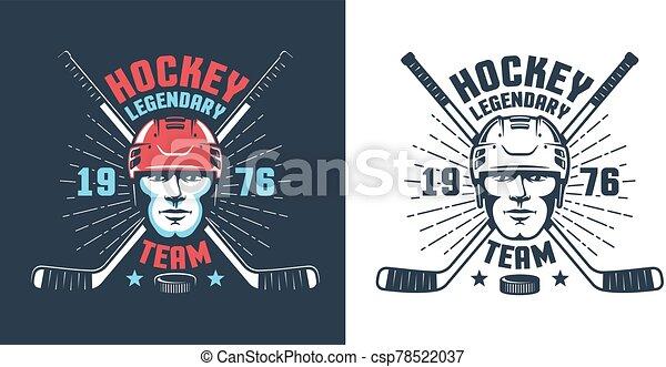 Hockey player head and crossed sticks - vintage logo - csp78522037