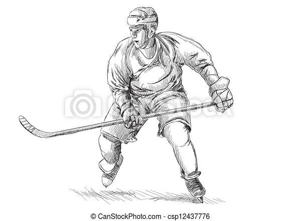 Hockey player on white background