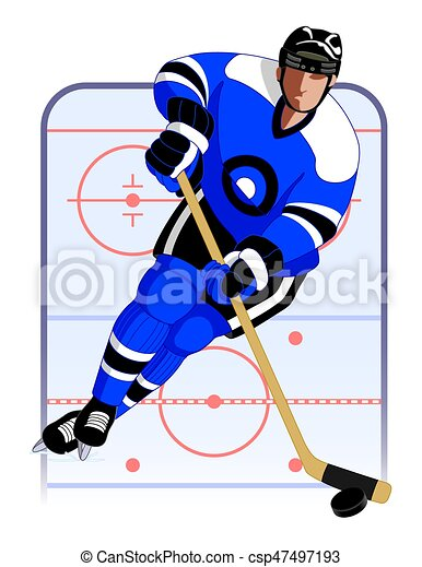 hockey player in blue uniform with hockey stick and puck eps rh canstockphoto com flaming hockey puck clipart hockey puck clipart free