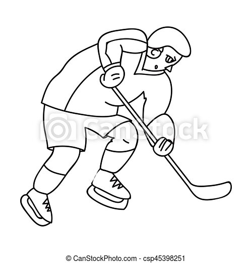 Hockey Player In Full Gear With A Stick Playing Hockey Winter