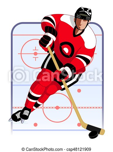 hockey player in red uniform with hockey stick and puck vector rh canstockphoto com hockey puck clipart black and white hockey puck clipart vector
