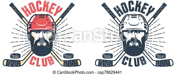 Hockey player with beard and crossed sticks - vintage sport emblem - csp78629441