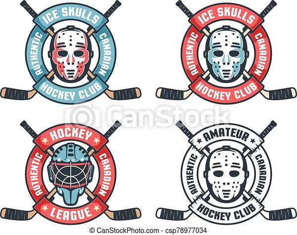 Hockey retro logo with goalie mask, crossed sticks and round ribbon - csp78977034