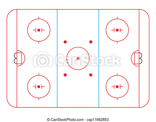 Ice Hockey Rink Diagram Vector Illustration