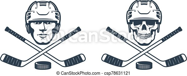 Hockey skull logo with crossed sticks - csp78631121