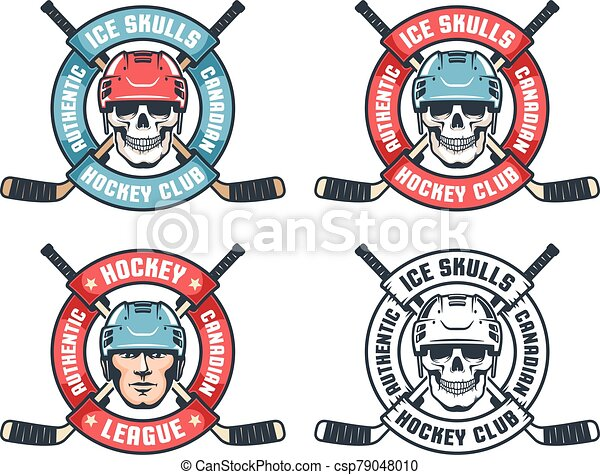 Hockey skull retro emblem with crossed sticks and round ribbon - csp79048010