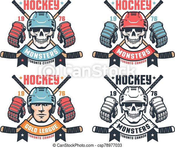Hockey skull vintage logo with crossed sticks and ribbon - csp78977033